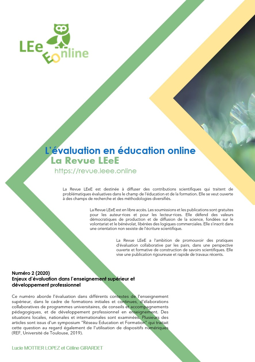 Afficher No 2 (2020): Enjeux d'évaluation dans l'enseignement supérieur et développement professionnel